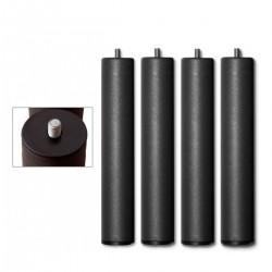 Pata roscada metálica redonda para somier de láminas de 4 patas