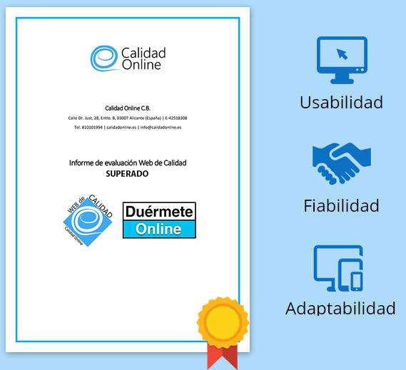 Certificado calidad y seguridad online de Duérmete Online